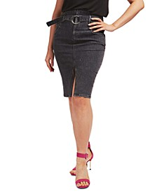 Casual Denim Knee-Length Skirt