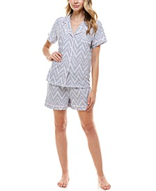 Printed Button Top & Shorts Pajama Set