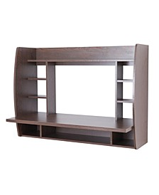 Wall Mount Laptop Office Desk with Shelves