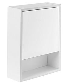 White Wall Mounted Bathroom Storage Cabinet Mirrored Vanity Medicine Chest with 3 Shelves