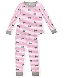 Big Girls Cosy Koala Stripe Print Pajama Set, 2 Piece