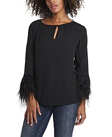 Women's Keyhole Front Blouse with Feather Sleeve