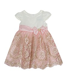 Baby Girls Satin Cap Sleeve Bodice To Cord Embroidered Skirt