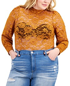 Trendy Plus Size Lace Bodysuit