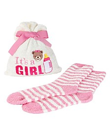 It's a Girl Cosy Women's Socks with Gift Bag, Set of 2