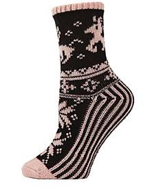 Reindeer Sweater Knit Women's Crew Socks