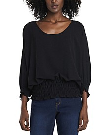 Women's Smocked Waist Dolman Sleeve Knit Top