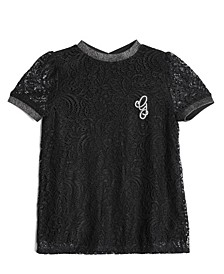 Big Girl's Short Sleeve Stretch Lace Top with Applique Detail