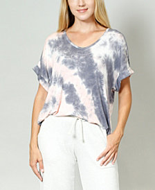 COIN 1804 Women's Tie Dye Rolled Sleeve V-Neck T-shirt