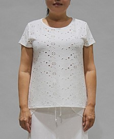 Women's Eyelet Jersey Button Back Top