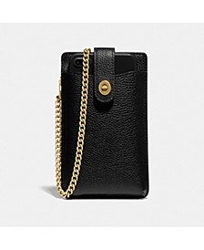 Polished Pebble Leather Turnlock Chain Phone Crossbody