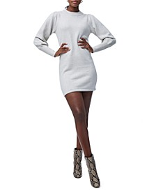 Puffed-Sleeve Sweater Dress