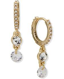 Gold-Tone Double Crystal Charm Huggie Hoop Earrings