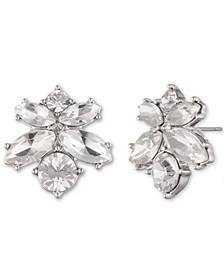 Silver-Tone Crystal Cluster Button Earrings