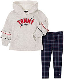 Little Girls Two Piece Hooded Tunic Top with Plaid Leggings Set