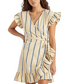 Wrap and Roll Striped Wrap Dress