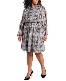 1.STATE Trendy Plus Size Printed Wrap Dress