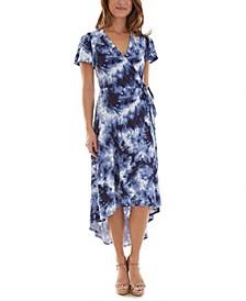 Juniors' Tie-Dye High-Low Wrap Dress