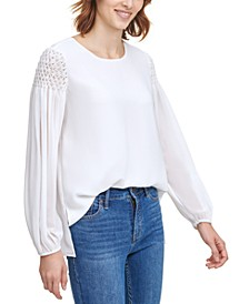 Smocked-Sleeve Top