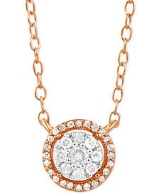 "Diamond Halo 16"" Pendant Necklace (1/6 ct. t.w.) in Rose Gold-Plated Sterling Silver"