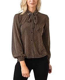 Black Label Metallic Button Down Collared Knit Top with Tie-Neck