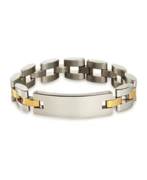 Men's Two Tone Watch Link Id Bracelet