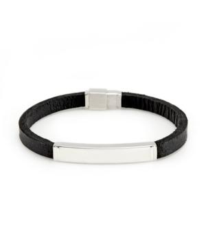 Men's Black Leather Steel Bracelet