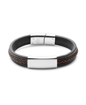 Men's Black With Brown Brai Ded Leather Id Bracelet