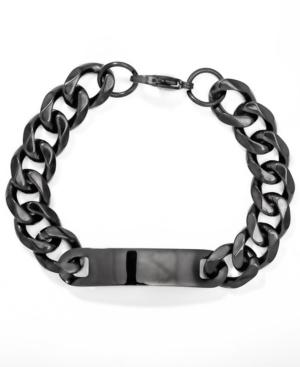 Men's Black Id With Curb Links Bracelet