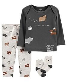 Carters Baby Boy 3-Piece Animal Print Tee & Pants Set