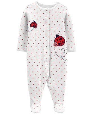 Carters Baby Girl Ladybug Snap-Up Cotton Sleep & Play