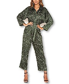 Women's Printed Button Up Jumpsuit