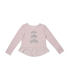 Toddler Girls Long Sleeve Graphic Peplum Tee