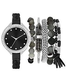 Women's Braided Black Strap Watch 38mm Gift Set