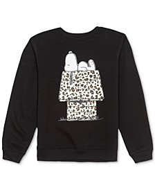 Juniors' Snoopy Cheetah-Print Graphic Sweatshirt