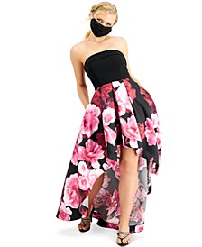 Juniors' Strapless Floral-Print High-Low Dress, Created for Macy's