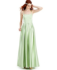 Juniors' Lace-Up-Back Satin Gown, Created for Macy's