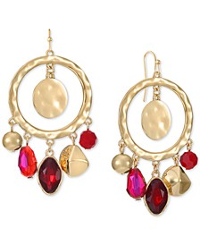 Stone, Bead & Hammered Disk Drop Hoop Earrings, Created for Macy's