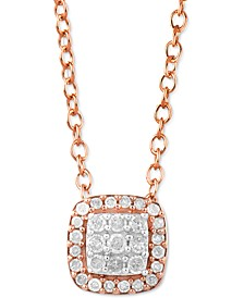 "Diamond Cluster Halo Cushion 16"" Pendant Necklace (1/6 ct. t.w.) in Rose Gold-Plated Sterling Silver"