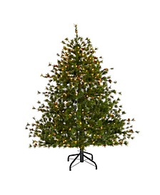 Colorado Mountain Pine Artificial Christmas Tree with 250 Clear Lights, 669 Bendable Branches and Pine Cones