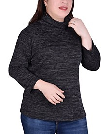 Women's Plus Size 3/4 Sleeve Mask Top