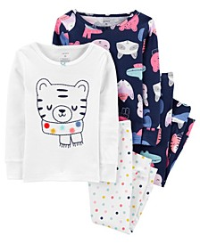 Baby Girls 4-Piece 100% Snug Fit Cotton PJs
