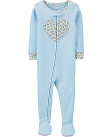 Baby Girls 1-Piece Floral Heart Snug Fit Cotton Footie PJs