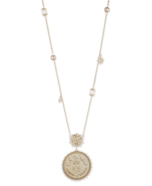 "Marchesa GOLD-TONE PAVE & IMITATION PEARL COIN 38"" ADJUSTABLE PENDANT NECKLACE"