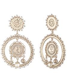 Gold-Tone Pavé & Imitation Pearl Coin Drop Earrings