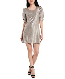 Petite Foil-Knit Puff-Sleeve Dress