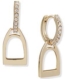 Stirrup Charm Pavé Hoop Earrings