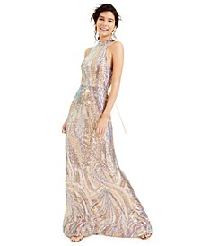 Juniors' Halter Sequin Gown, Created for Macy's
