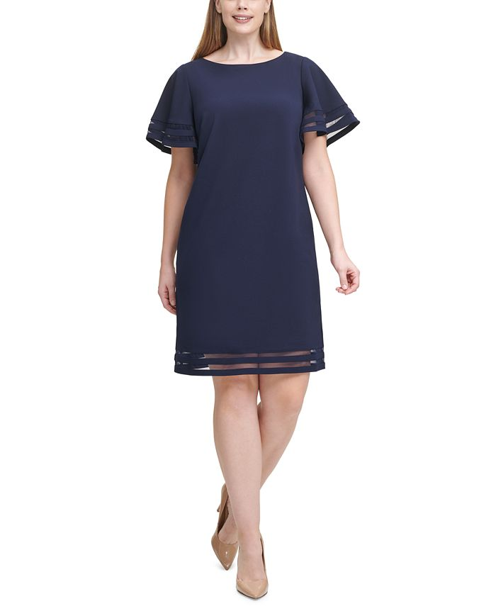 Jessica Howard - Plus Size Illusion-Trim Sheath Dress