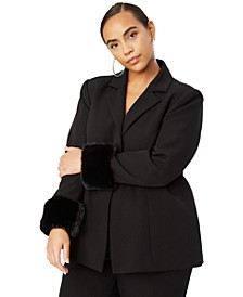Trendy Plus Size Faux-Fur Trim Blazer, Created for Macy's